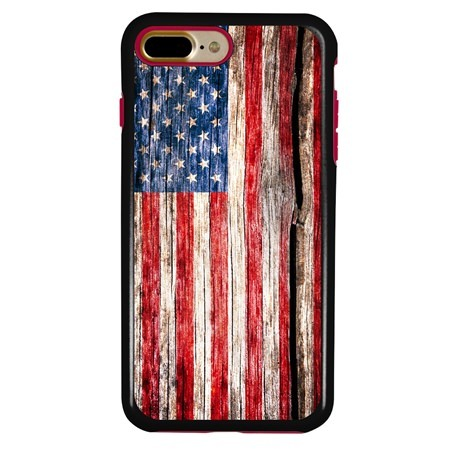 Guard Dog Land of Liberty Rugged American Flag Hybrid Phone Case for iPhone 7 Plus / 8 Plus with Guard Glass Screen Protector, Black