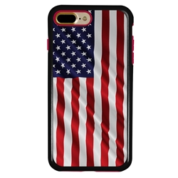 Guard Dog Star Spangled Banner Rugged American Flag Hybrid Phone Case for iPhone 7 Plus / 8 Plus , Black