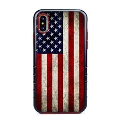 Guard Dog Old Glory Rugged American Flag Hybrid Phone Case for iPhone X / XS , Black