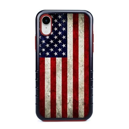 Guard Dog Old Glory Rugged American Flag Hybrid Phone Case for iPhone XR , Black