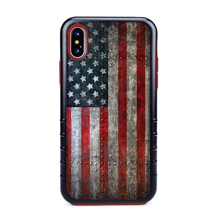 Guard Dog American Might Rugged American Flag Hybrid Phone Case for iPhone XS Max with Guard Glass Screen Protector, Black