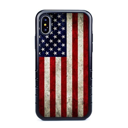 Guard Dog Old Glory Rugged American Flag Hybrid Phone Case for iPhone XS Max with Guard Glass Screen Protector, Black