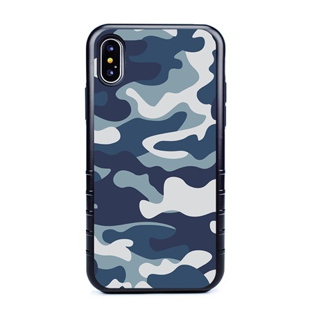 Guard Dog Maritime Camo Hybrid Case for iPhone X / XS with Guard Glass Screen Protector, Black with Black Silicone