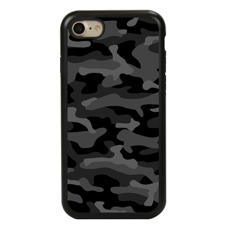 Guard Dog Stealth Camo Hybrid Case for iPhone 7 / 8 with Guard Glass Screen Protector, Black with Black Silicone