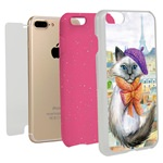 Guard Dog Bonjour Kitty Hybrid Phone Case for iPhone 7 Plus / 8 Plus with Guard Glass Screen Protector, White with Pink Silicone