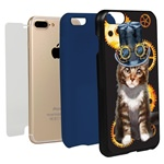 Guard Dog Steampunk Tabbie Hybrid Phone Case for iPhone 7 Plus / 8 Plus with Guard Glass Screen Protector, Black with Dark Blue Silicone