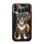 Guard Dog Steampunk Tabbie Hybrid Phone Case for iPhone X / XS with Guard Glass Screen Protector, Black with Dark Blue Silicone