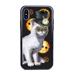 Guard Dog Steampunk Willie Hybrid Phone Case for iPhone X / XS with Guard Glass Screen Protector, Black with Dark Blue Silicone