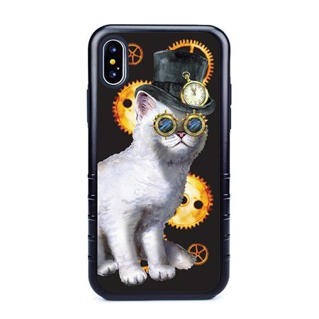 Guard Dog Steampunk Willie Hybrid Phone Case for iPhone XS Max with Guard Glass Screen Protector, Black with Dark Blue Silicone