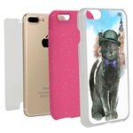 Guard Dog Basil in London Hybrid Phone Case for iPhone 7 Plus / 8 Plus with Guard Glass Screen Protector, White with Pink Silicone