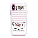 Guard Dog Flirty Kitty Hybrid Phone Case for iPhone X / XS with Guard Glass Screen Protector, White with Pink Silicone