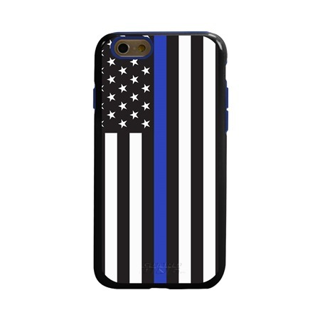 Guard Dog Honor Thin Blue Line Cases for iPhone 6 / 6s with Guard Glass Screen Protector, Black / Blue