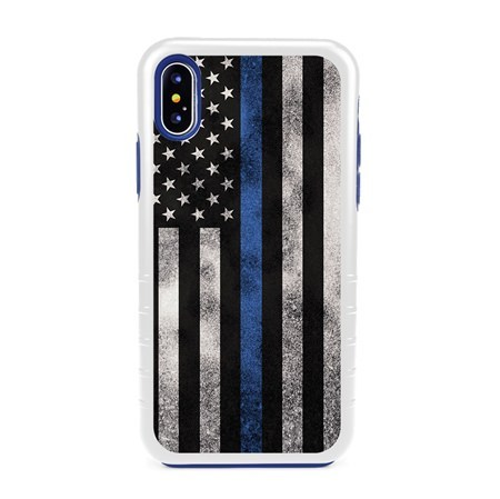 Guard Dog Legend Thin Blue Line Cases for iPhone X / XS with Guard Glass Screen Protector, white / Blue