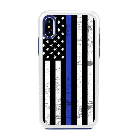 Guard Dog Hero Thin Blue Line Cases for iPhone XS Max with Guard Glass Screen Protector, white / Blue