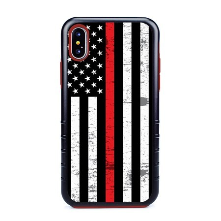 Guard Dog Hero Thin Red Line Cases for iPhone XS Max with Guard Glass Screen Protector, Black / Red