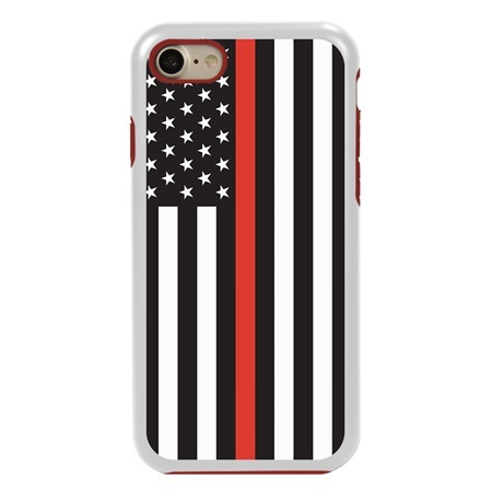Guard Dog Honor Thin Red Line Cases for iPhone 7/8/SE , White / Red