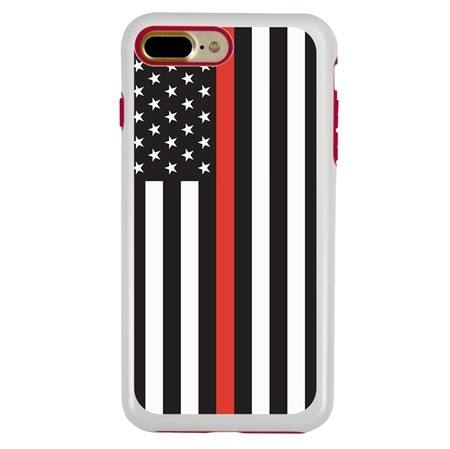 Guard Dog Honor Thin Red Line Cases for iPhone 7 Plus / 8 Plus , White / Red