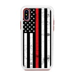 Guard Dog Hero Thin Red Line Cases for iPhone X / XS with Guard Glass Screen Protector, White / Red