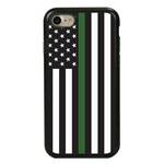 Guard Dog Honor Thin Green Line Cases for iPhone 7/8/SE , Black / Green