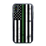 Guard Dog Hero Thin Green Line Cases for iPhone X / XS with Guard Glass Screen Protector, Black / Green