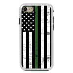 Guard Dog Hero Thin Green Line Cases for iPhone 7/8/SE , White / Green