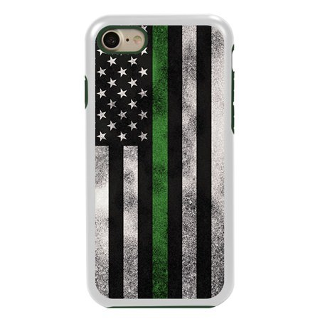 Guard Dog Legend Thin Green Line Cases for iPhone 7 / 8 with Guard Glass Screen Protector, White / Green