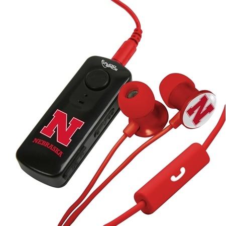 AudioSpice Nebraska Cornhuskers Bluetooth and Scorch Earbud with Mic Combo Plus BudBag Storage Case