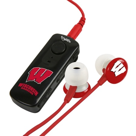 AudioSpice Wisconsin Badgers Bluetooth Receiver and Ignition Earbud Combo