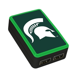 QuikVolt Michigan State Spartans WP-200X Classic Dual-Port USB Wall Charger