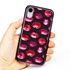 Guard Dog Pink Hybrid Cases for iPhone XR , Pink Lipstick Kisses, Black/Pink Silicone