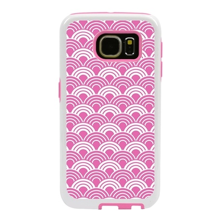 Guard Dog Pink Hybrid Cases for Samsung Galaxy S6 with Guard Glass Screen Protector, Pink Fan Print, White/Pink Silicone