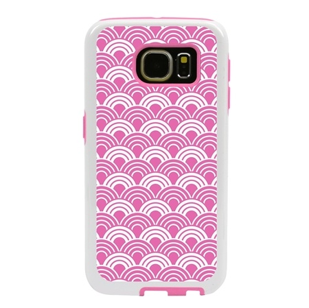Guard Dog Pink Hybrid Cases for Samsung Galaxy S7 with Guard Glass Screen Protector, Pink Fan Print, White/Pink Silicone