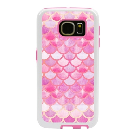 Guard Dog Pink Hybrid Cases for Samsung Galaxy S7 , Pink Mermaid Scales, White/Pink Silicone