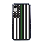 Guard Dog Honor Thin Green Line Cases for iPhone XR , Black / Gray