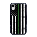 Guard Dog Hero Thin Green Line Cases for iPhone XR , Black / Gray