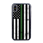 Guard Dog Hero Thin Green Line Cases for iPhone XS Max , Black / Gray