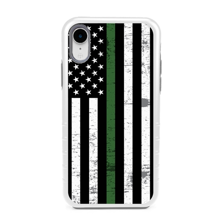 Guard Dog Hero Thin Green Line Cases for iPhone XR with Guard Glass Screen Protector, White / Gray
