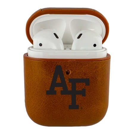 AudioSpice NCAA Air Force Falcons Leather Cover for Apple AirPod Generation 1/2 Case with Carabiner and Safety Cord