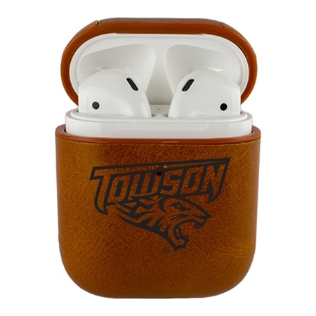 AudioSpice NCAA Towson Tigers Leather Cover for Apple AirPod Generation 1/2 Case with Carabiner and Safety Cord