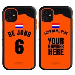 Personalized Netherlands Soccer Jersey Case for iPhone 11 – Hybrid – (Black Case, Orange Silicone)