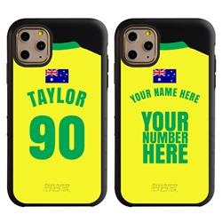Personalized Australia Soccer Jersey Case for iPhone 11 Pro – Hybrid – (Black Case, Black Silicone)