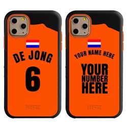 Personalized Netherlands Soccer Jersey Case for iPhone 11 Pro – Hybrid – (Black Case, Orange Silicone)