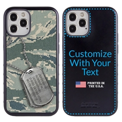 Military Case for iPhone 12 / 12 Pro – Hybrid - DogTag on ABU Camo