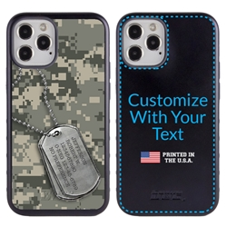 Military Case for iPhone 12 / 12 Pro – Hybrid - DogTag on UCP Camo