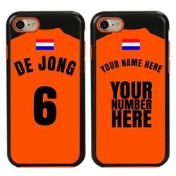Personalized Netherlands Soccer Jersey Case for iPhone 7/8/SE – Hybrid – (Black Case, Orange Silicone)