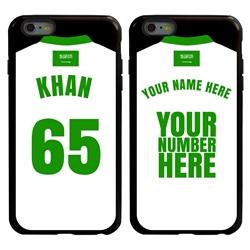 Personalized Saudi Arabia Soccer Jersey Case for iPhone 6 Plus / 6s Plus – Hybrid – (Black Case, Black Silicone)