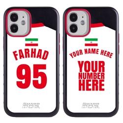 Personalized Iran Soccer Jersey Case for iPhone 12 Mini – Hybrid – (Black Case, Black Silicone)