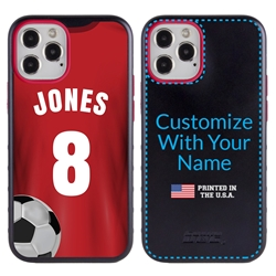 Custom Soccer Jersey Hybrid Case for iPhone 12 / 12 Pro - (Black Case, Full Color Jersey)