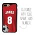 Custom Soccer Jersey Hybrid Case for iPhone 7 Plus / 8 Plus - (Black Case, Full Color Jersey)