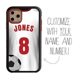 Custom Soccer Jersey Hybrid Case for iPhone 11 Pro - (Black Case, White Jersey)